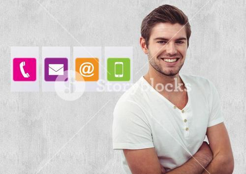 Smiling man standing with arms crossed against various application icons