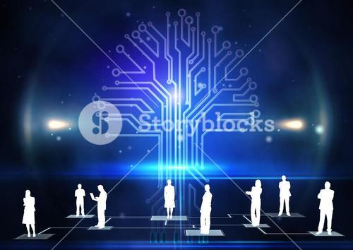 Digitally generated of businesspeople standing against circuit board