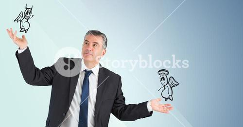 Man between good and bad conscience against blue background