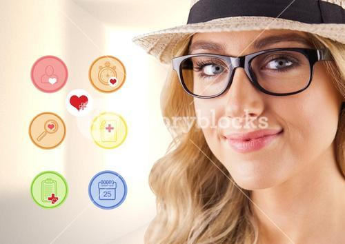 Portrait of beautiful woman with various application icon
