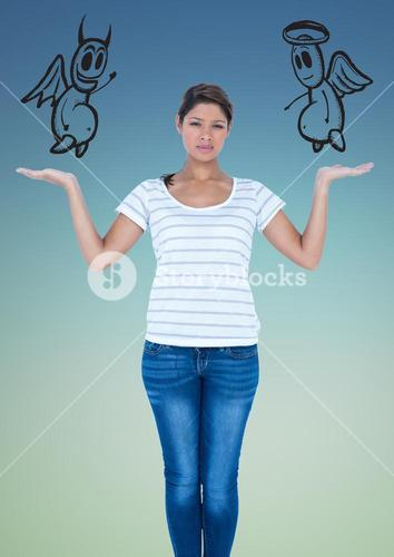 Confused woman between good and bad conscience