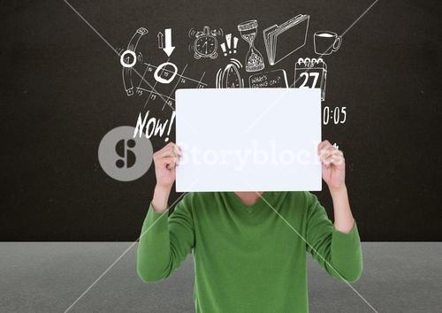Man covering his face with blank placard