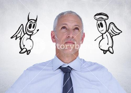 Thoughtful businessman with angel and devil doodle in background