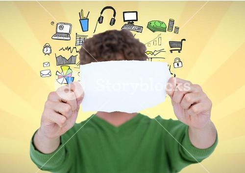 Man holding blank page in front of hos face against graphics icons on yellow background