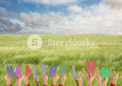 Hands holding word Healthy Living in field against clouds