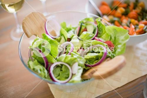 Bowl of salad on dinning table