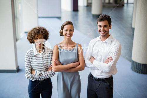 Confident business executives at conference centre