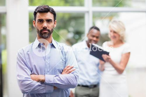 Confident businessman at conference centre