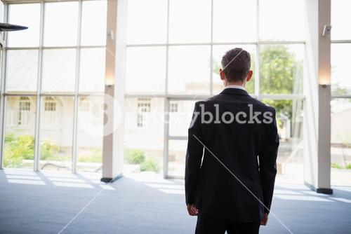 Businessman standing in conference centre
