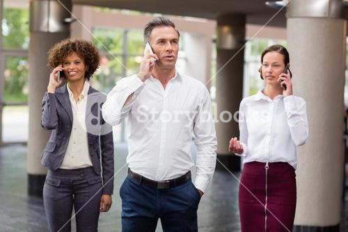 Business executives talking on mobile phone