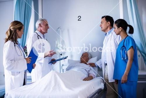Team of doctors interacting with each other