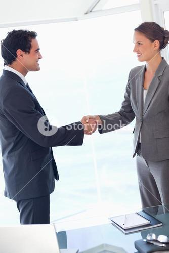Side view of business partner agreeing on a deal