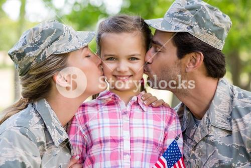 Military couple with their daughter