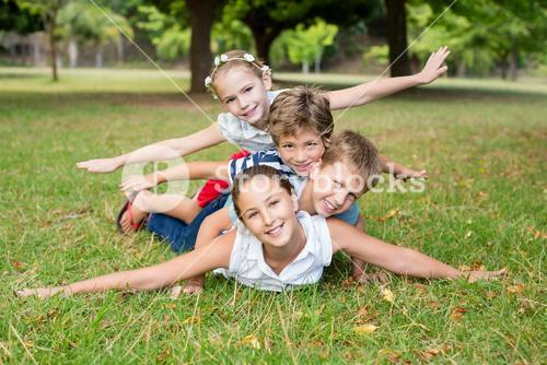 Kids having fun together in park
