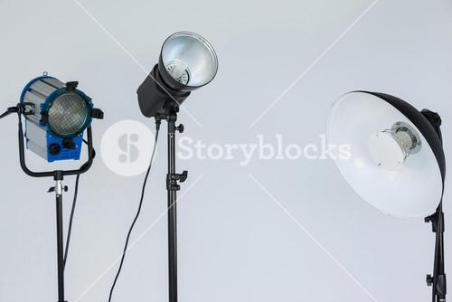 Spotlights placed together in photo studio