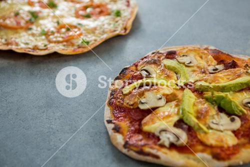 Italian pizza with various toppings