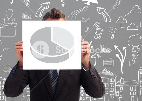 Businessman holding sheet with pie statistics in front of his face with arrows marks on grey backgro