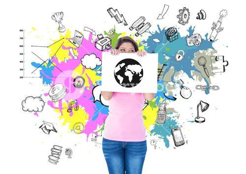 Woman holding a placard with globe drawing against graphic interface background