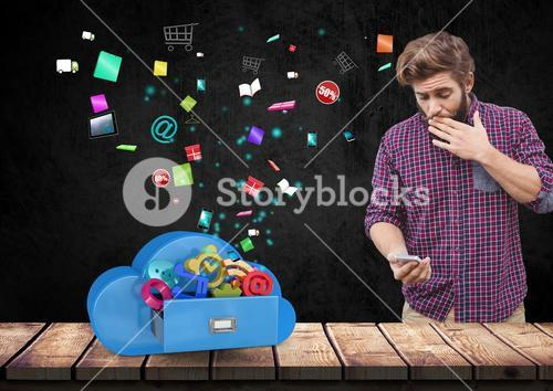 Suprised man using mobile phone against app icons in background