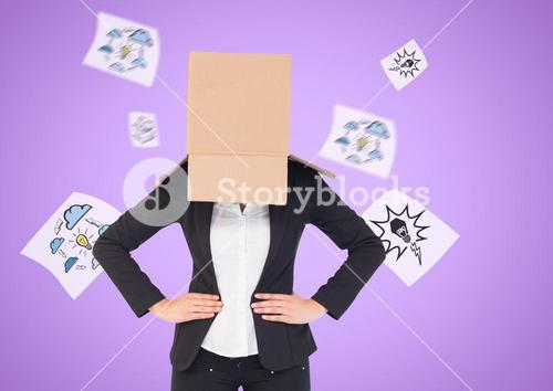 Businesswoman with her face covered with cardboard box standing against innovation concepts in backg