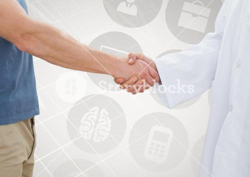 Man shaking hand with doctor against medical concept background