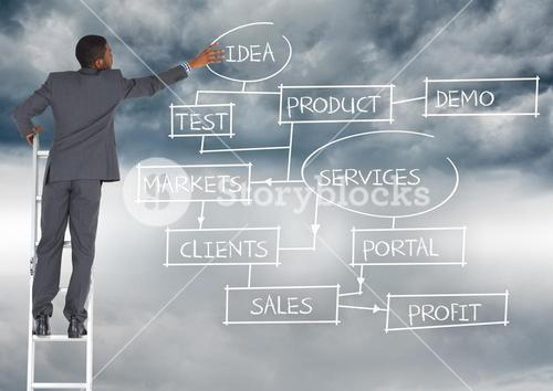Businessman standing on a ladder against business concepts in background
