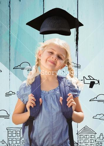 Girl with bagpack in graduation hat standing against hand drawn city background