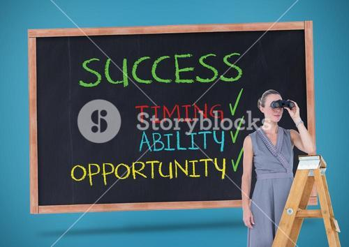 Businesswoman looking through binoculars while standing on ladder against sucess concept on blackboa