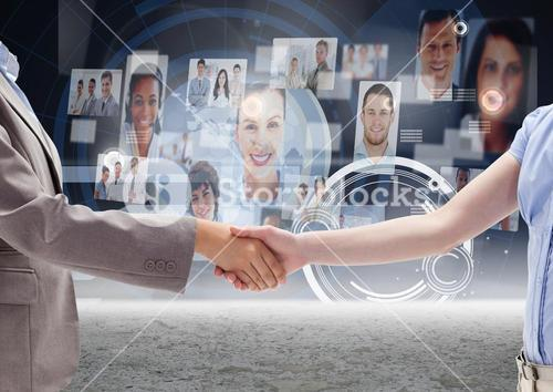 Business professionals shaking hands against profile picture interface in background