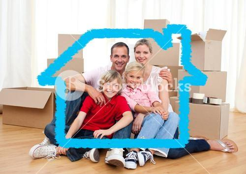Family sitting in living room against house outline in background