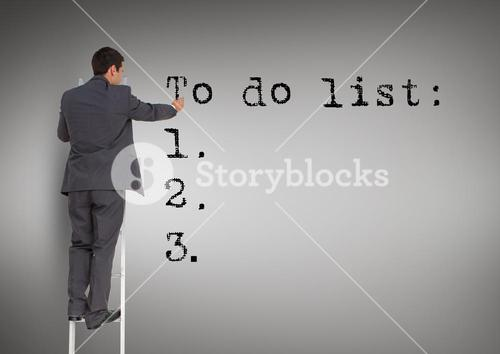 Businessman standing on a ladder against writing to do list against grey background