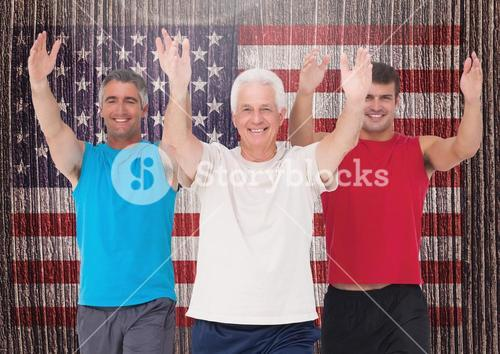 Dad, son and grandfather performing exercise against american flag in background