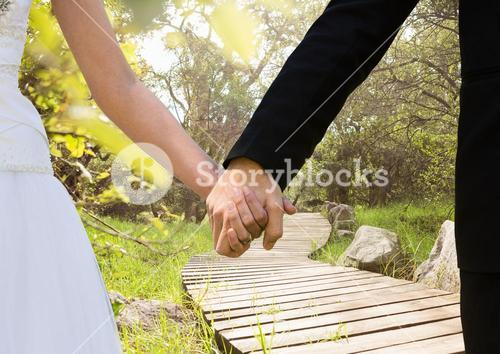 Newly wed couple holding hands in the park