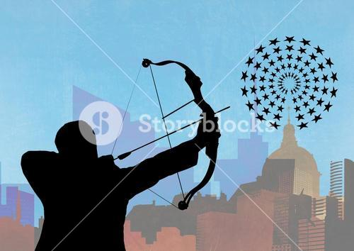 Silhouette of man aiming at the target board against cityscape in background