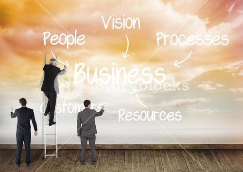 Conceptual images of businesspeople planning business strategy