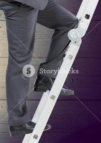 Low section of businessman on ladder