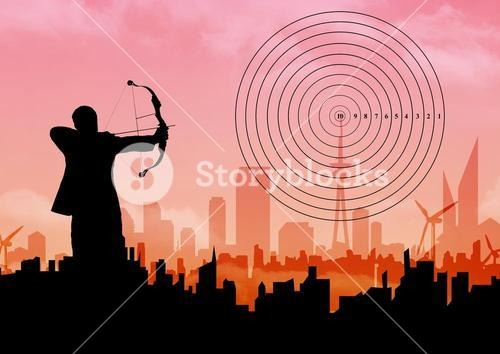 Silhouette of businessman aiming with bow and arrow at target over cityscape