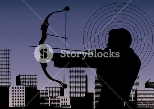 Silhouette of businessman aiming with bow and arrow against cityscape
