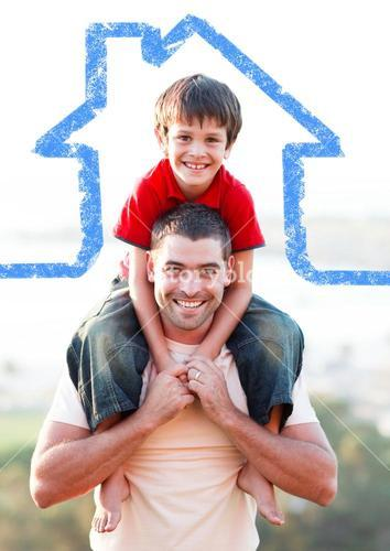 Father carrying son on his shoulders overlaid with house shape