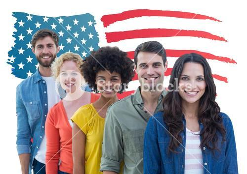 Group of happy people standing against American flag