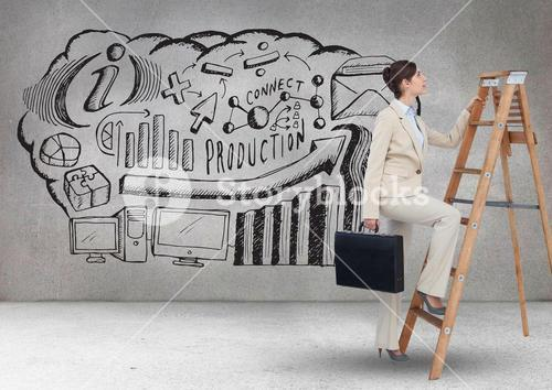 Businesswoman holding briefcase climbing on step ladder and graphics on wall in background