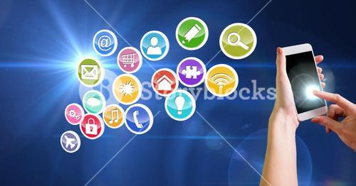 Female hands using mobile phone and various application icons in background
