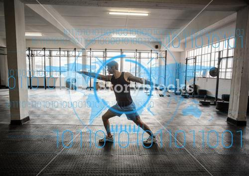 Man exercising in gym and fitness interface