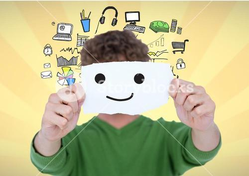 Digital composite image of man covering his face with smiley on paper