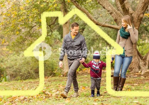 Family walking in the forest with home outline