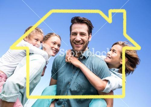 Family with home outline against blue background