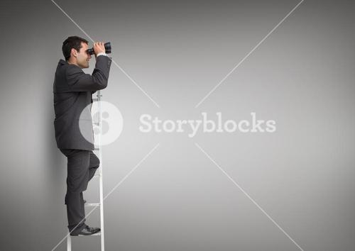 Businessman looking through binoculars while standing on the ladder