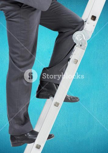 Businessman climbing up the ladder against blue background