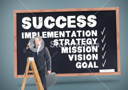 Businessman on ladder with suitcase and binoculars against business plan in background