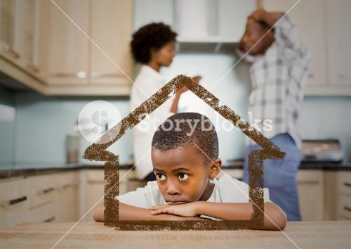 Home outline with son and parents arguing in kitchen